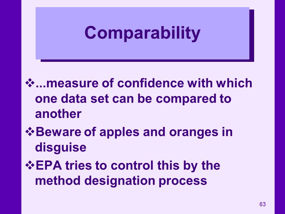 63 Comparability...measure of confidence with which one data set can be compared to another Beware of apples and oranges in disguise EPA tries to cont