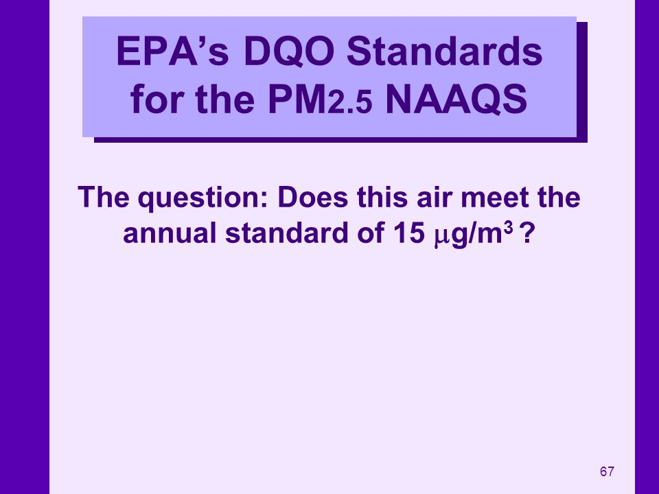 67 EPAs DQO Standards for the PM 2.5 NAAQS The question: Does this air meet the annual standard of 15 g/m 3 ?