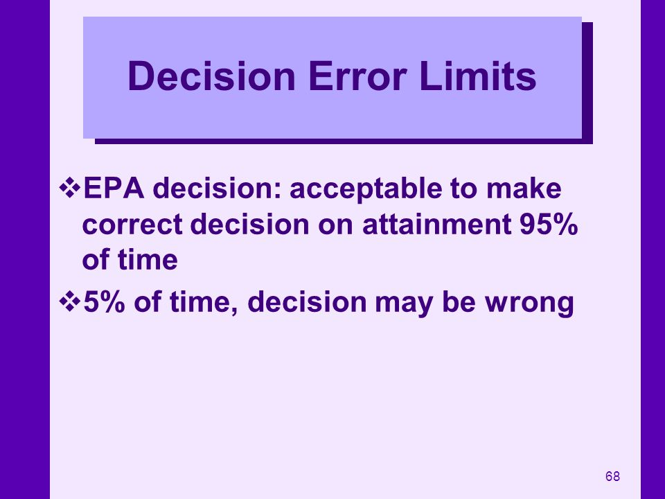 68 Decision Error Limits EPA decision: acceptable to make correct decision on attainment 95% of time 5% of time, decision may be wrong