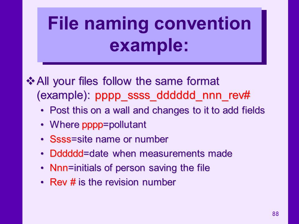 88 File naming convention example: All your files follow the same format (example): pppp_ssss_dddddd_nnn_rev# All your files follow the same format (e