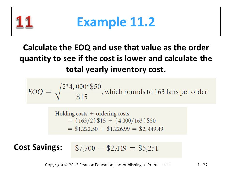 Copyright © 2013 Pearson Education, Inc. publishing as Prentice Hall11 - 22 Example 11.2 Calculate the EOQ and use that value as the order quantity to
