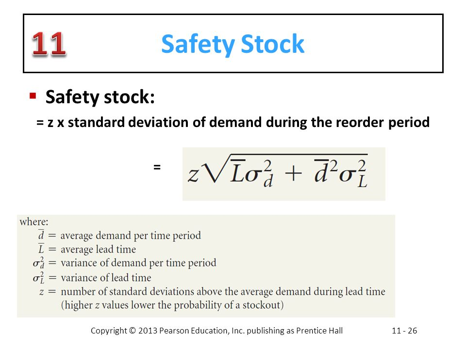 Copyright © 2013 Pearson Education, Inc. publishing as Prentice Hall11 - 26 Safety Stock Safety stock: = z x standard deviation of demand during the r