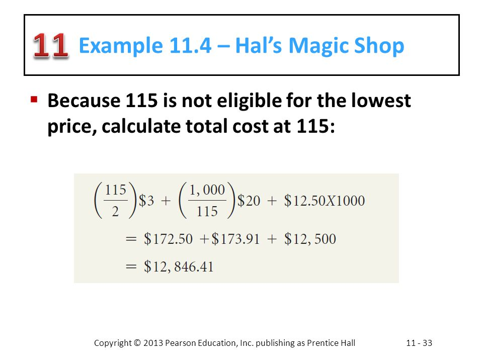 Copyright © 2013 Pearson Education, Inc. publishing as Prentice Hall11 - 33 Example 11.4 – Hals Magic Shop Because 115 is not eligible for the lowest