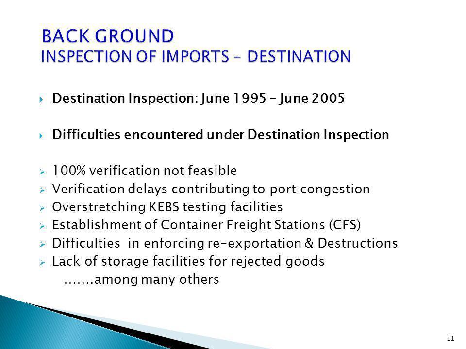 Destination Inspection: June 1995 – June 2005 Difficulties encountered under Destination Inspection 100% verification not feasible Verification delays