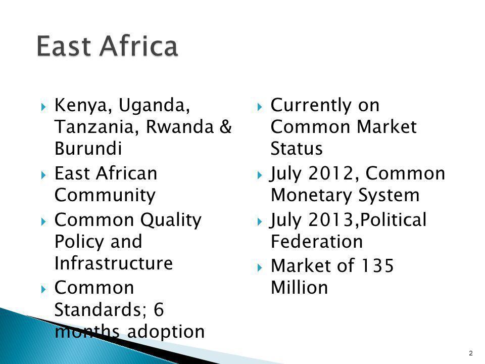 Kenya, Uganda, Tanzania, Rwanda & Burundi East African Community Common Quality Policy and Infrastructure Common Standards; 6 months adoption Currentl
