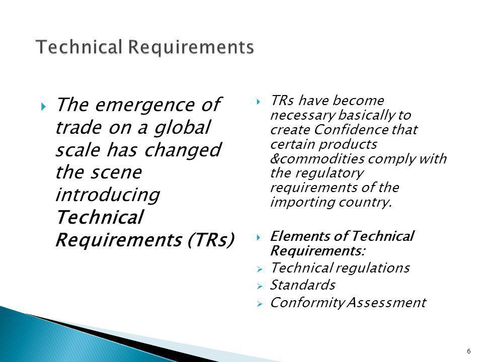 The emergence of trade on a global scale has changed the scene introducing Technical Requirements (TRs) TRs have become necessary basically to create
