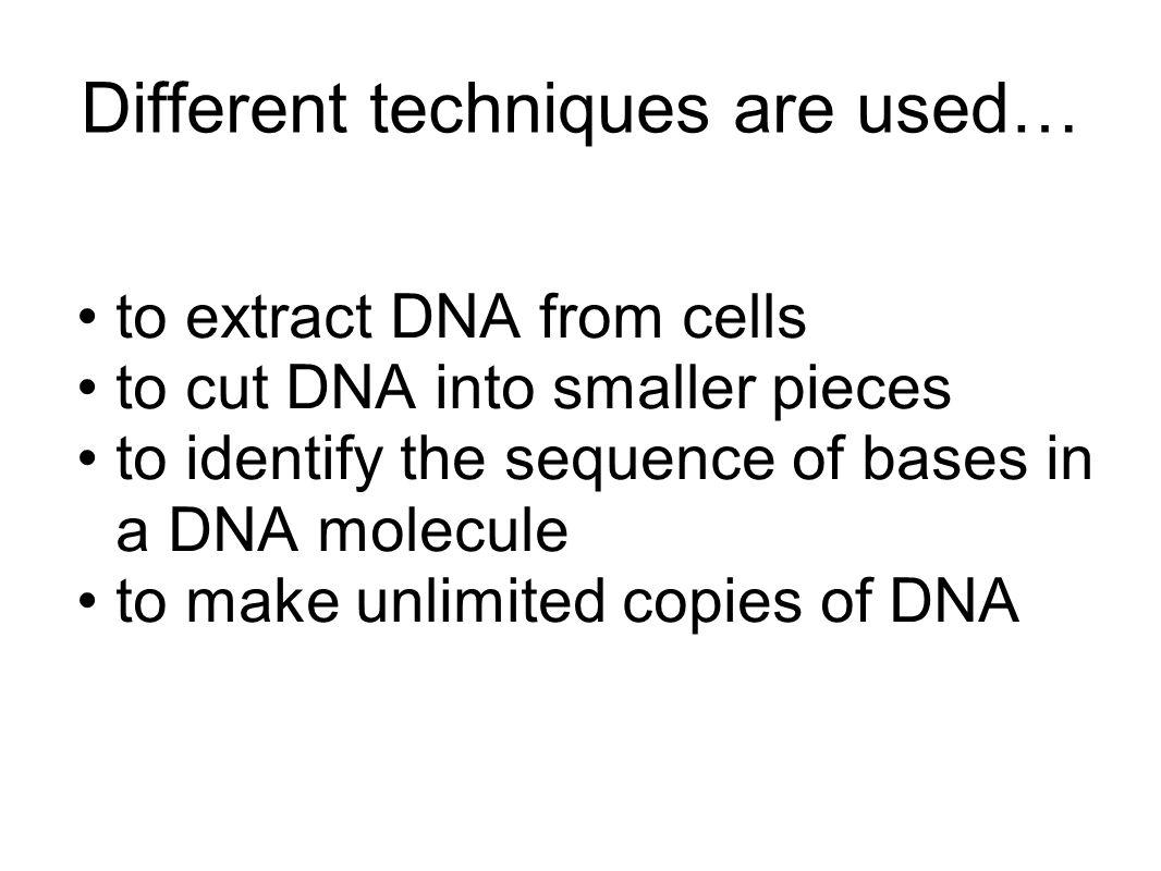 Different techniques are used… to extract DNA from cells to cut DNA into smaller pieces to identify the sequence of bases in a DNA molecule to make un