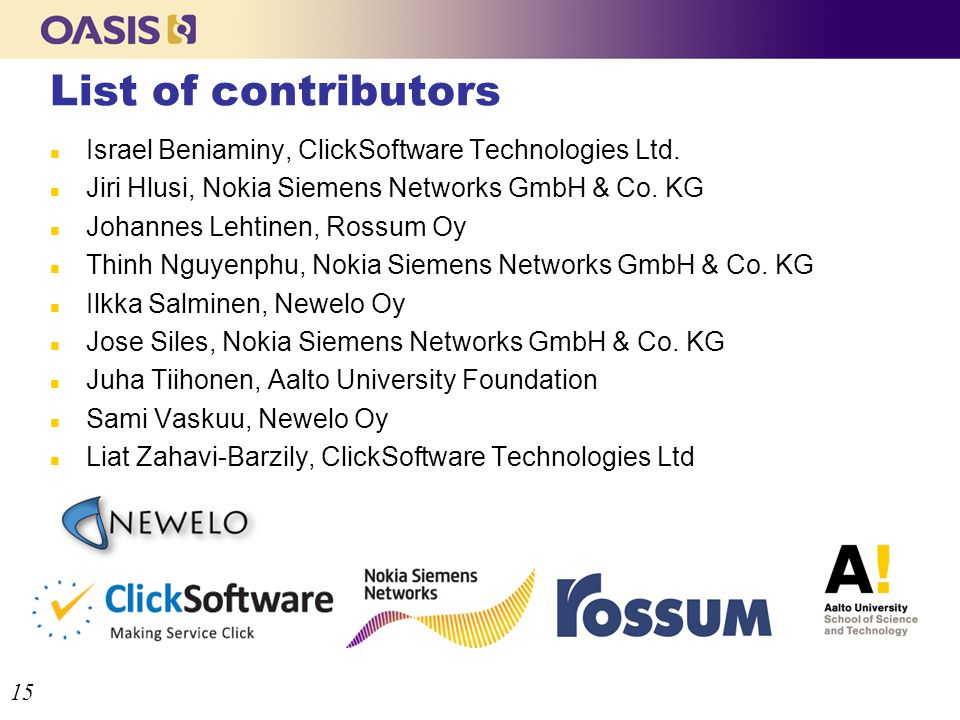 List of contributors n Israel Beniaminy, ClickSoftware Technologies Ltd.