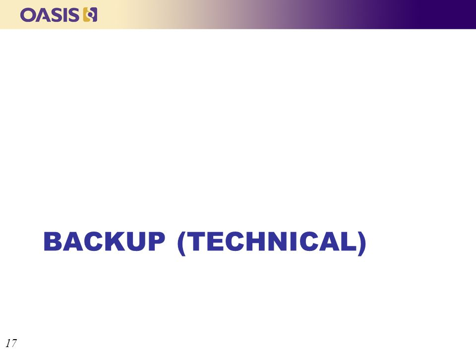 BACKUP (TECHNICAL) 17