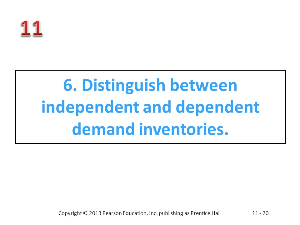 Copyright © 2013 Pearson Education, Inc. publishing as Prentice Hall11 - 20 6. Distinguish between independent and dependent demand inventories.