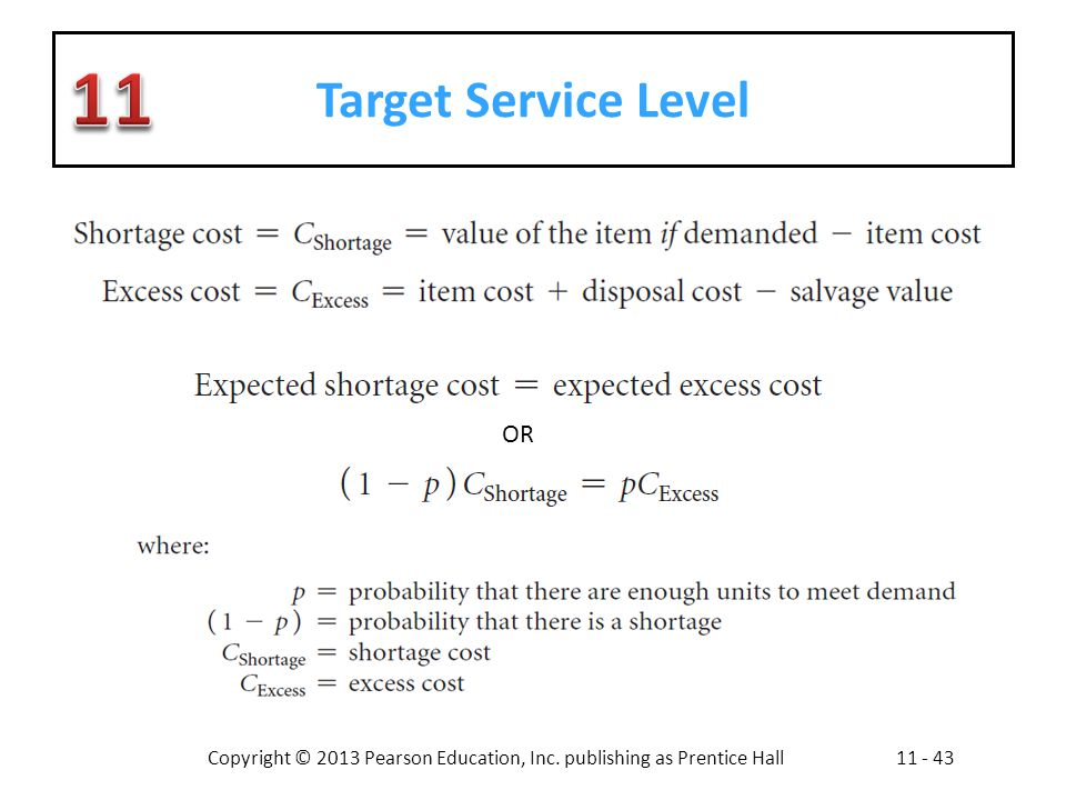 Copyright © 2013 Pearson Education, Inc. publishing as Prentice Hall11 - 43 Target Service Level OR