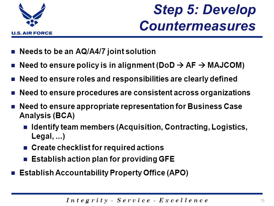 I n t e g r i t y - S e r v i c e - E x c e l l e n c e Step 5: Develop Countermeasures Needs to be an AQ/A4/7 joint solution Need to ensure policy is in alignment (DoD AF MAJCOM) Need to ensure roles and responsibilities are clearly defined Need to ensure procedures are consistent across organizations Need to ensure appropriate representation for Business Case Analysis (BCA) Identify team members (Acquisition, Contracting, Logistics, Legal,...) Create checklist for required actions Establish action plan for providing GFE Establish Accountability Property Office (APO) 15