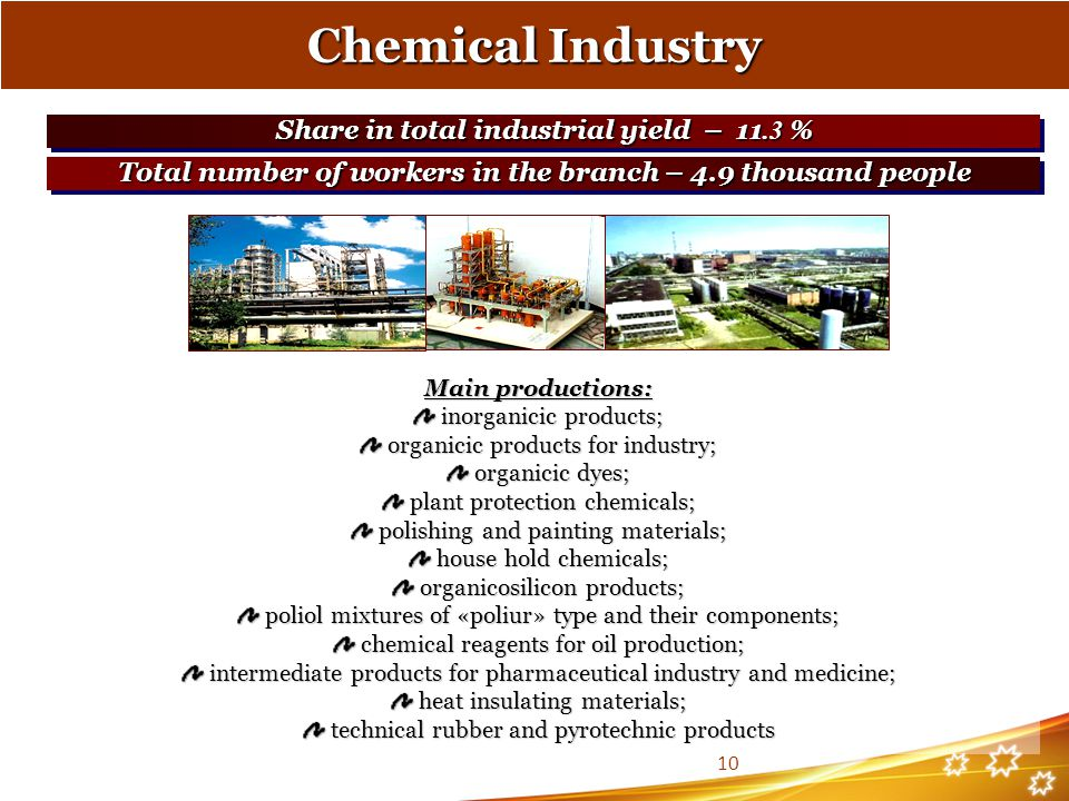 Chemical Industry Main productions: inorganicic products; inorganicic products; organicic products for industry; organicic products for industry; organicic dyes; organicic dyes; plant protection chemicals; plant protection chemicals; polishing and painting materials; polishing and painting materials; house hold chemicals; house hold chemicals; organicosilicon products; organicosilicon products; poliol mixtures of «poliur» type and their components; poliol mixtures of «poliur» type and their components; chemical reagents for oil production; chemical reagents for oil production; intermediate products for pharmaceutical industry and medicine; intermediate products for pharmaceutical industry and medicine; heat insulating materials; heat insulating materials; technical rubber and pyrotechnic products technical rubber and pyrotechnic products Share in total industrial yield – 11.3 % Total number of workers in the branch – 4.9 thousand people 10