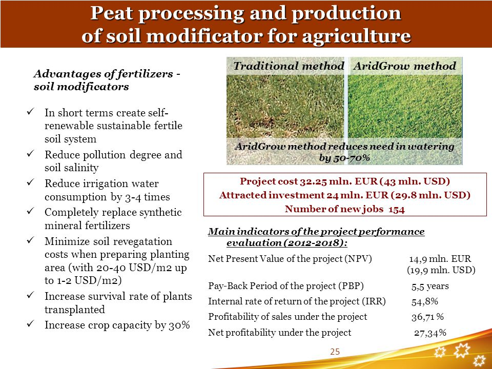 Advantages of fertilizers - soil modificators In short terms create self- renewable sustainable fertile soil system Reduce pollution degree and soil salinity Reduce irrigation water consumption by 3-4 times Completely replace synthetic mineral fertilizers Minimize soil revegatation costs when preparing planting area (with 20-40 USD/m2 up to 1-2 USD/m2) Increase survival rate of plants transplanted Increase crop capacity by 30% Traditional methodAridGrow method AridGrow method reduces need in watering by 50-70% Peat processing and production of soil modificator for agriculture Project cost 32.25 mln.