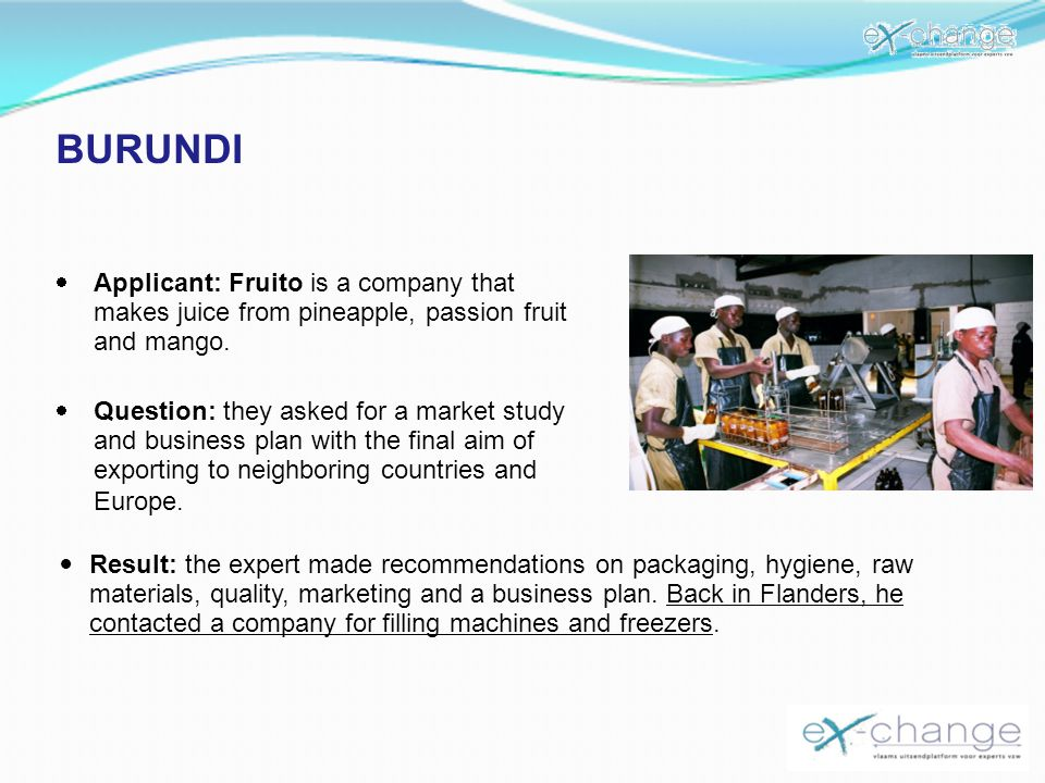 BURUNDI Applicant: Fruito is a company that makes juice from pineapple, passion fruit and mango.