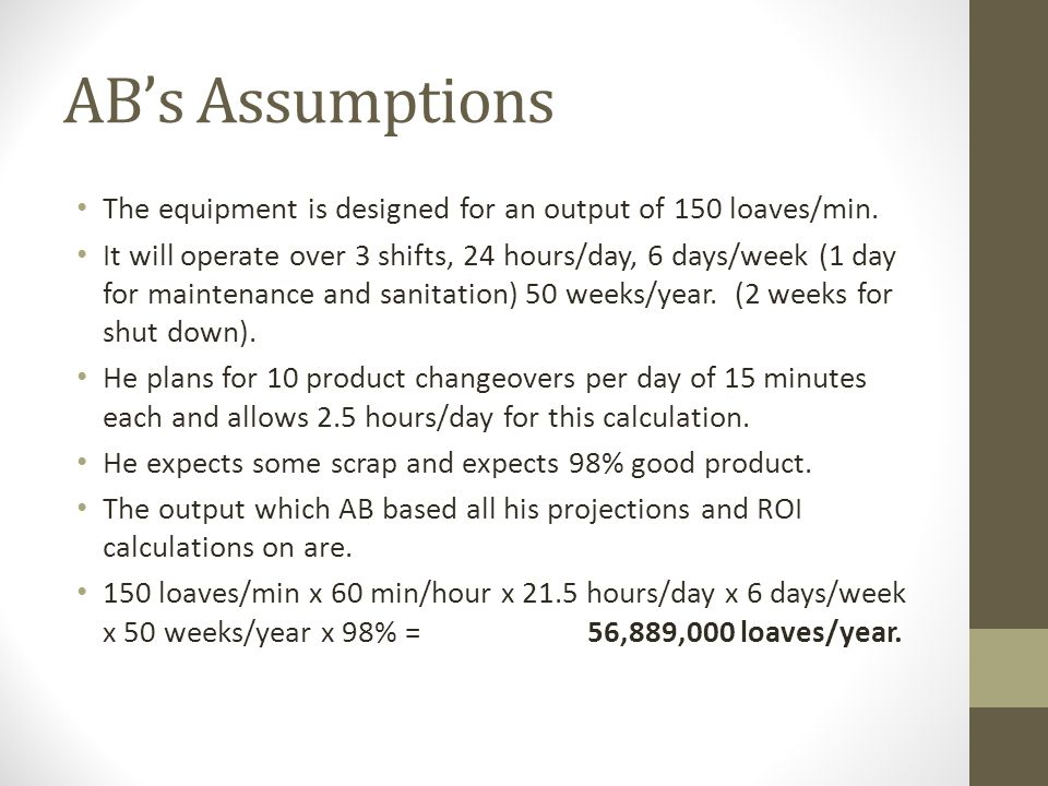 ABs Assumptions The equipment is designed for an output of 150 loaves/min.