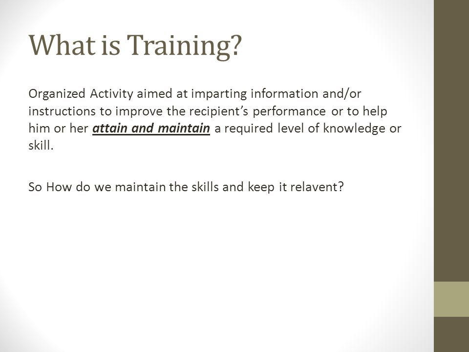 What is Training.