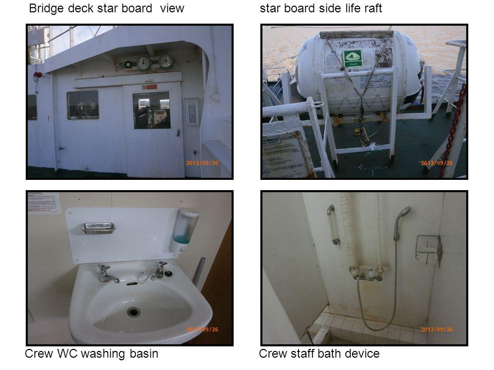Bridge deck star board view star board side life raft Crew WC washing basin Crew staff bath device