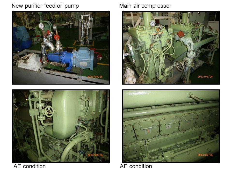 New purifier feed oil pump Main air compressor AE condition