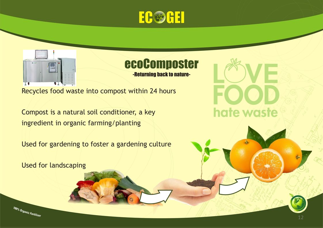ecoDigester® Digesting food waste into compost ADVANTAGES Key Features: Virtually smoke, fumes & smell free High temperature, refractory lining giving