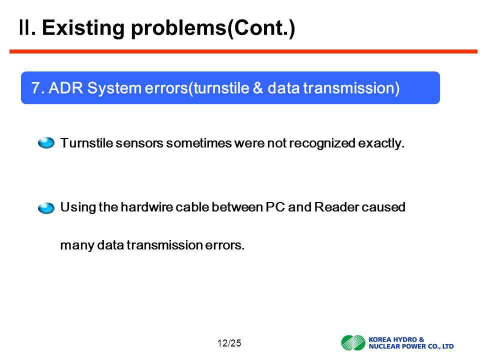 7. ADR System errors(turnstile & data transmission) Turnstile sensors sometimes were not recognized exactly. Using the hardwire cable between PC and R