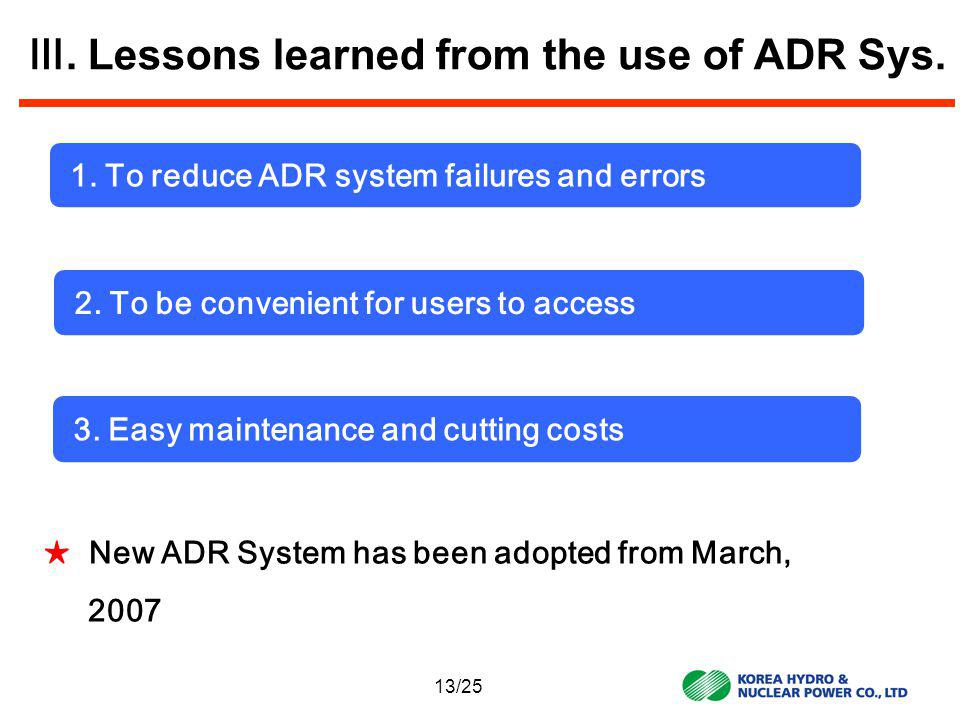 Lessons learned from the use of ADR Sys.1. To reduce ADR system failures and errors 2.