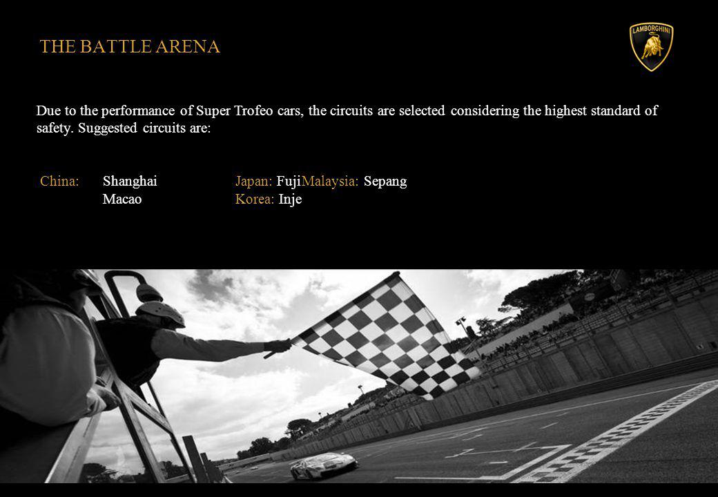 THE BATTLE ARENA Due to the performance of Super Trofeo cars, the circuits are selected considering the highest standard of safety.