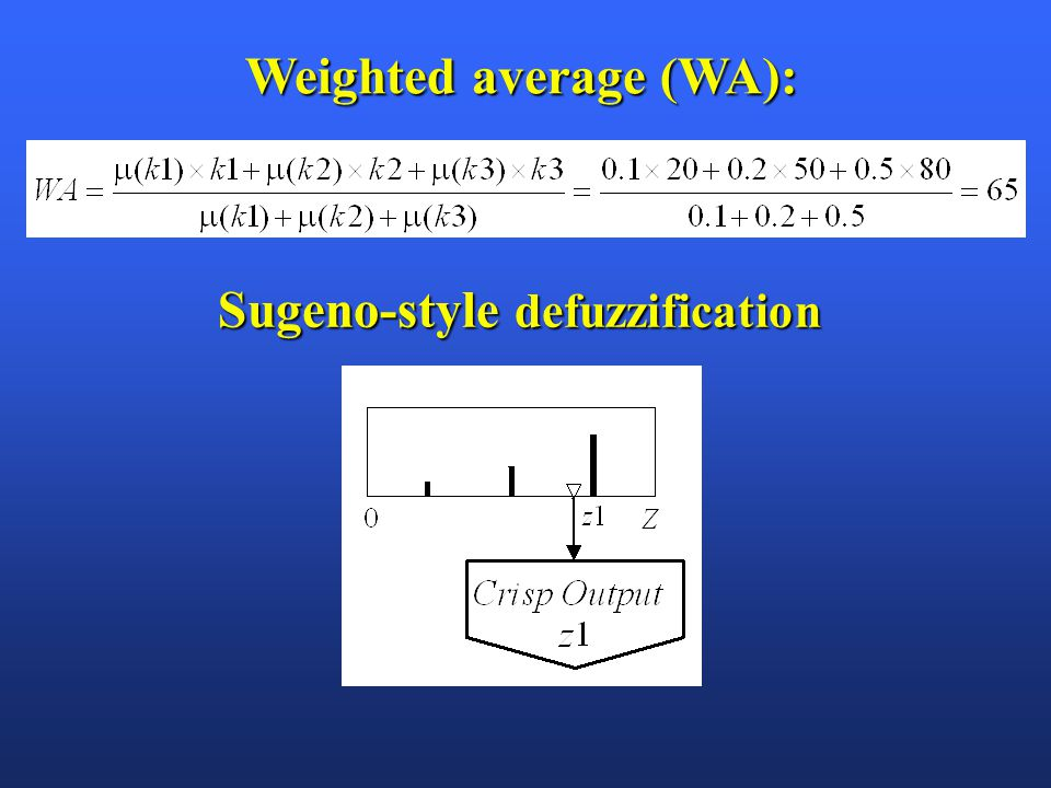 Weighted average (WA): Sugeno-style defuzzification
