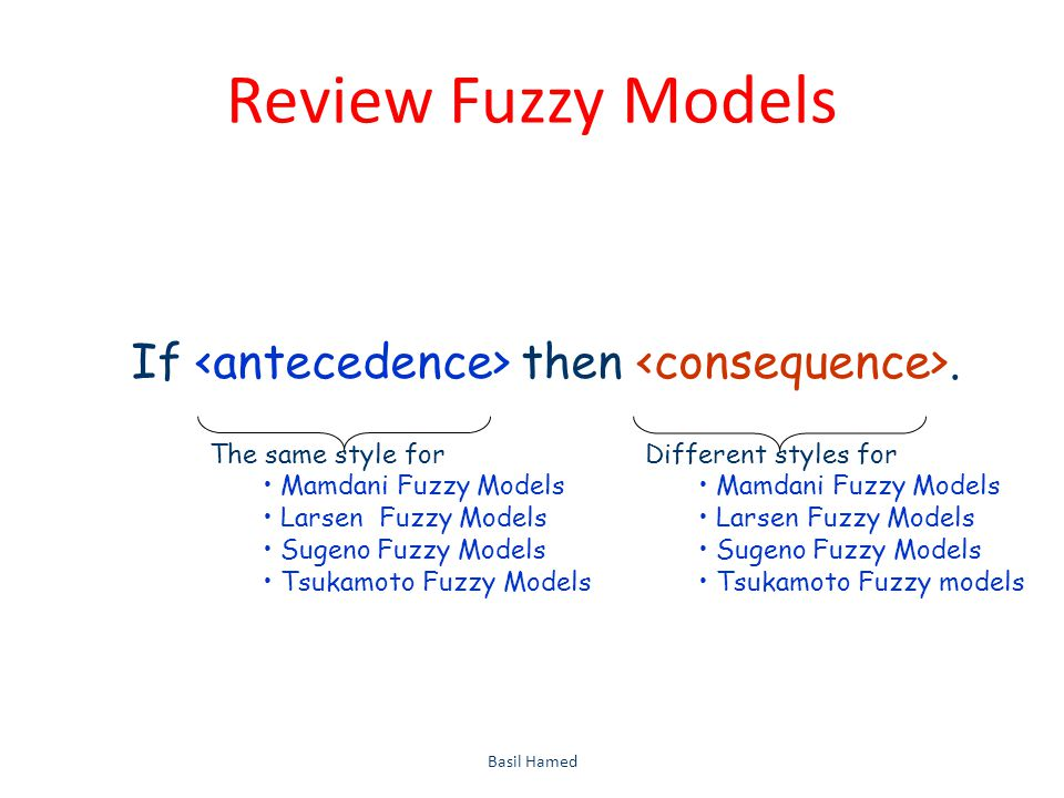 Review Fuzzy Models Basil Hamed60 If then. The same style for Mamdani Fuzzy Models Larsen Fuzzy Models Sugeno Fuzzy Models Tsukamoto Fuzzy Models Diff