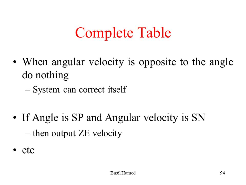 Complete Table When angular velocity is opposite to the angle do nothing –System can correct itself If Angle is SP and Angular velocity is SN –then ou