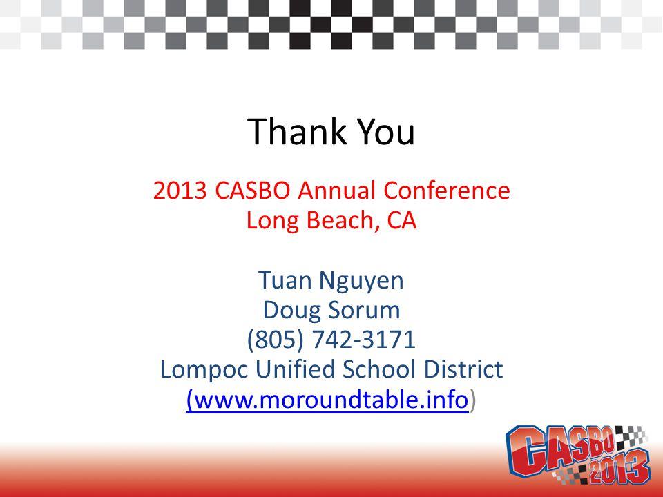 Thank You 2013 CASBO Annual Conference Long Beach, CA Tuan Nguyen Doug Sorum (805) 742-3171 Lompoc Unified School District (www.moroundtable.info(www.