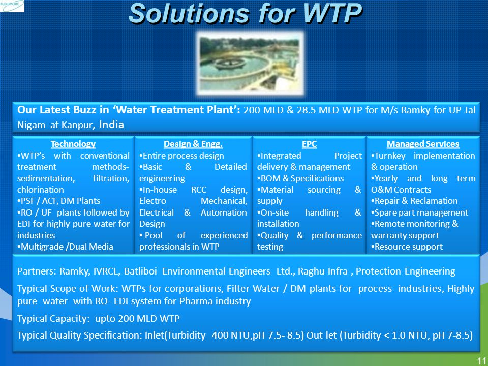 Solutions for WTP Technology WTPs with conventional treatment methods- sedimentation, filtration, chlorination PSF / ACF, DM Plants RO / UF plants fol