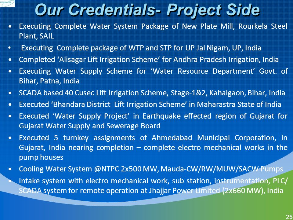 Our Credentials- Project Side Executing Complete Water System Package of New Plate Mill, Rourkela Steel Plant, SAIL Executing Complete package of WTP