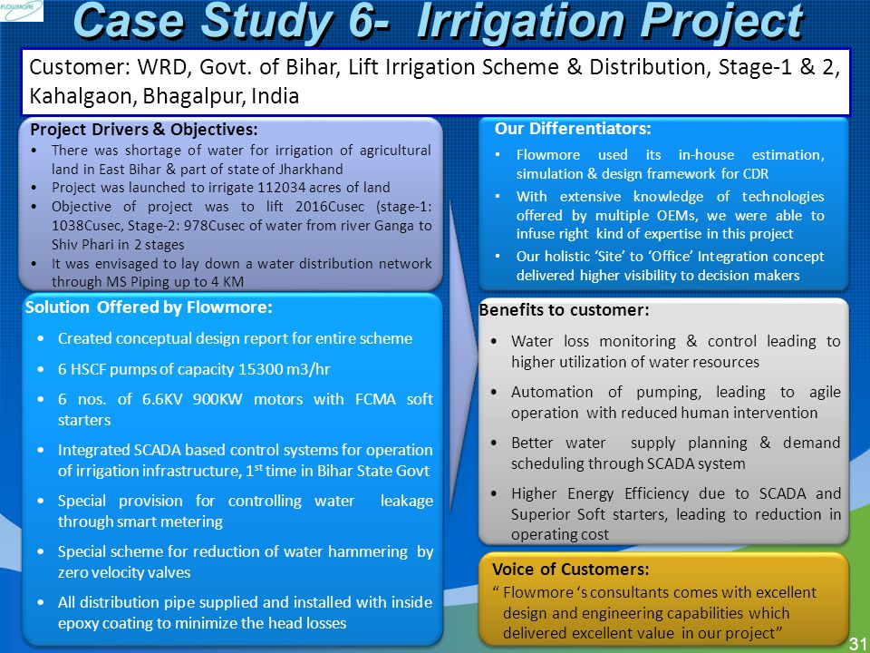 Case Study 6- Irrigation Project 31 Solution Offered by Flowmore: Created conceptual design report for entire scheme 6 HSCF pumps of capacity 15300 m3