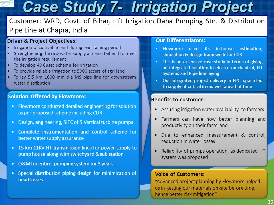 Case Study 7- Irrigation Project 32 Solution Offered by Flowmore: Flowmore conducted detailed engineering for solution as per proposed scheme includin