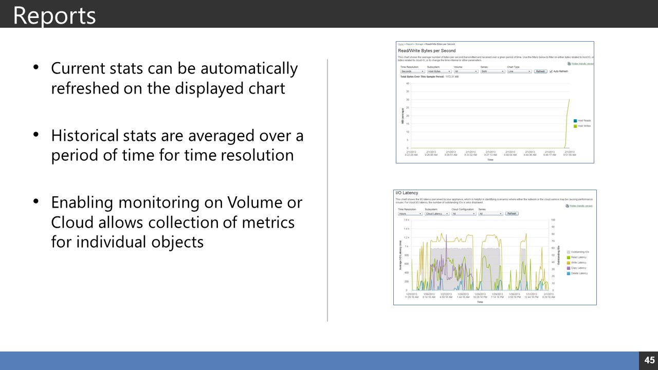Reports Current stats can be automatically refreshed on the displayed chart Historical stats are averaged over a period of time for time resolution Enabling monitoring on Volume or Cloud allows collection of metrics for individual objects 45
