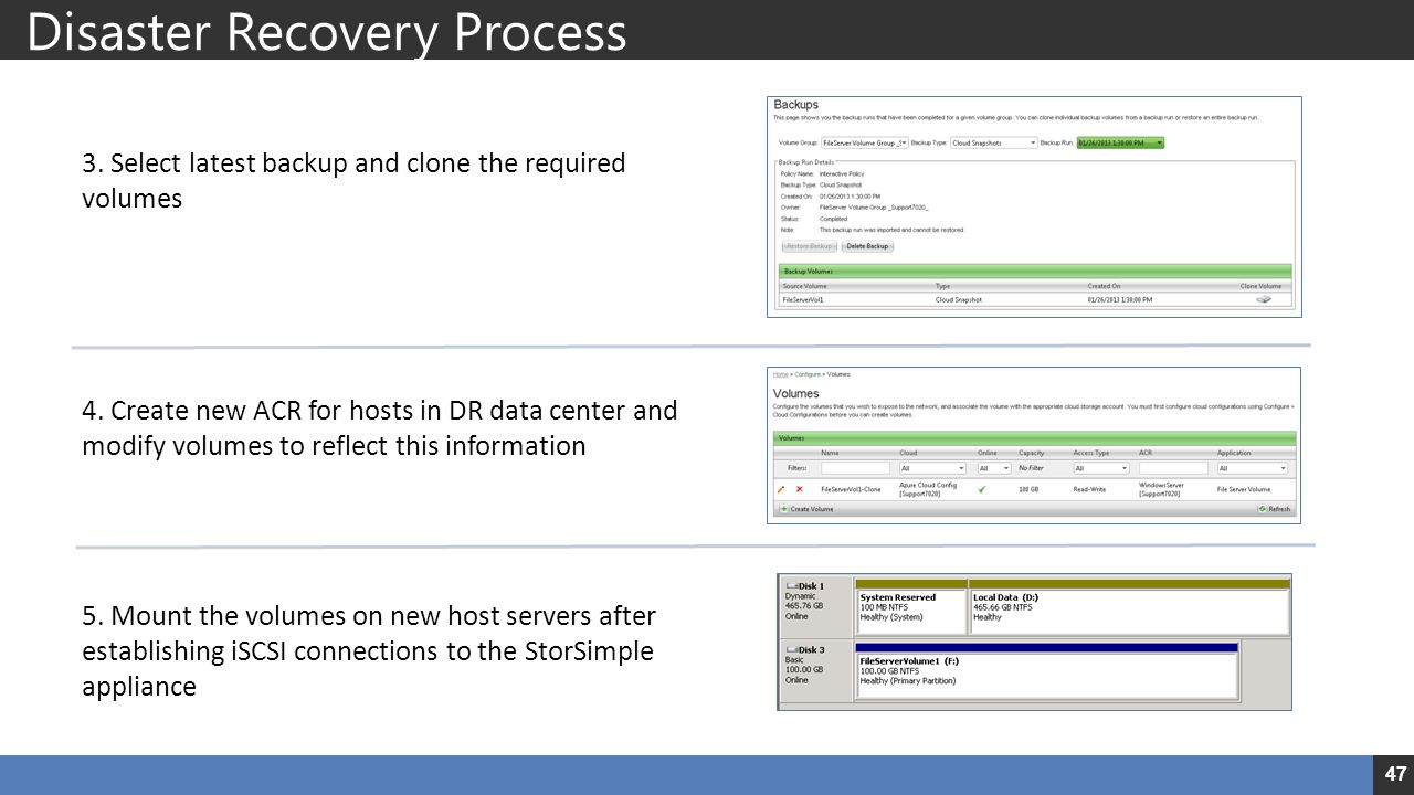 Disaster Recovery Process 3. Select latest backup and clone the required volumes 4. Create new ACR for hosts in DR data center and modify volumes to r