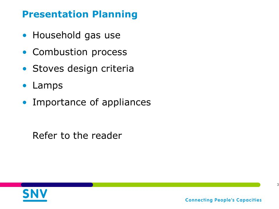 Presentation Planning Household gas use Combustion process Stoves design criteria Lamps Importance of appliances Refer to the reader 3