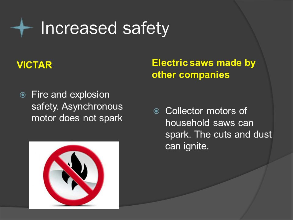 VICTAR Electric saws made by other companies Fire and explosion safety.