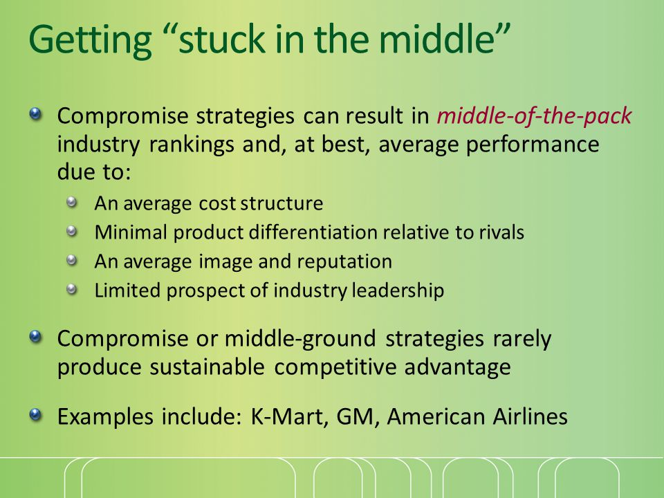 Getting stuck in the middle Compromise strategies can result in middle-of-the-pack industry rankings and, at best, average performance due to: An aver