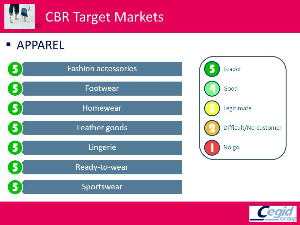 CBR Target Markets APPAREL Fashion accessories Footwear Homewear Leather goods Lingerie Ready-to-wear Sportswear Leader Good Legitimate Difficult/No customer No go