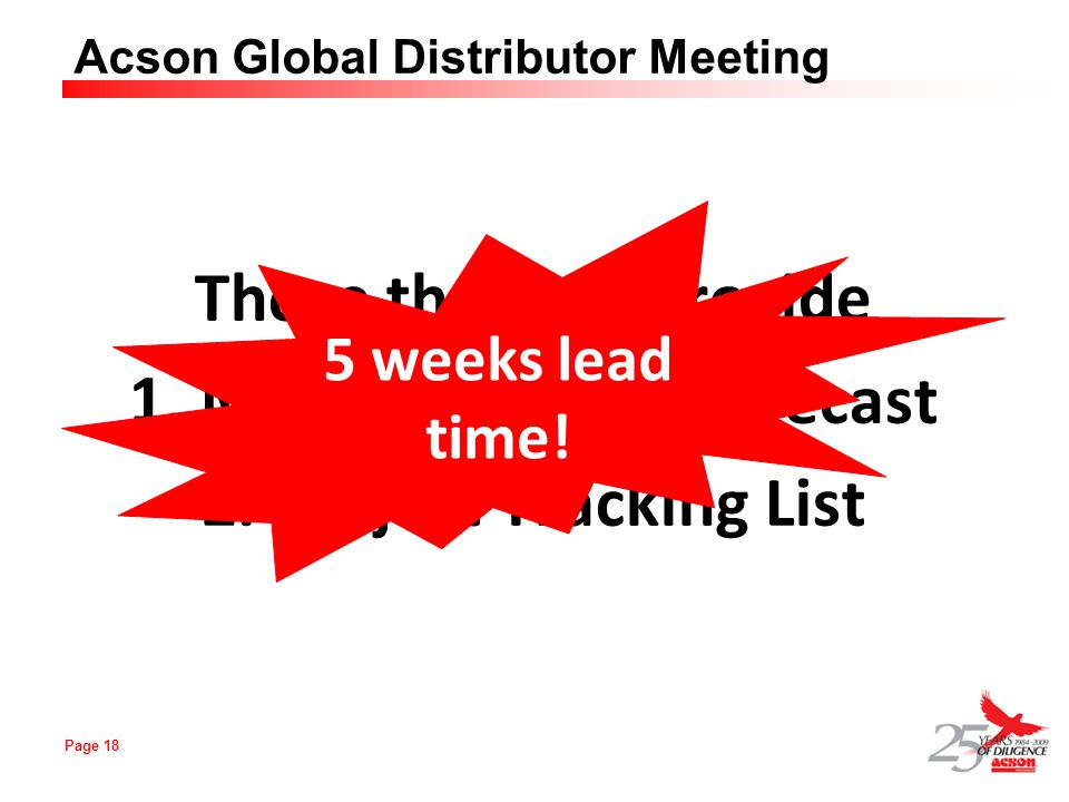 Page 18 Acson Global Distributor Meeting Those that can provide 1. Monthly Rolling Forecast 2. Project Tracking List 5 weeks lead time!
