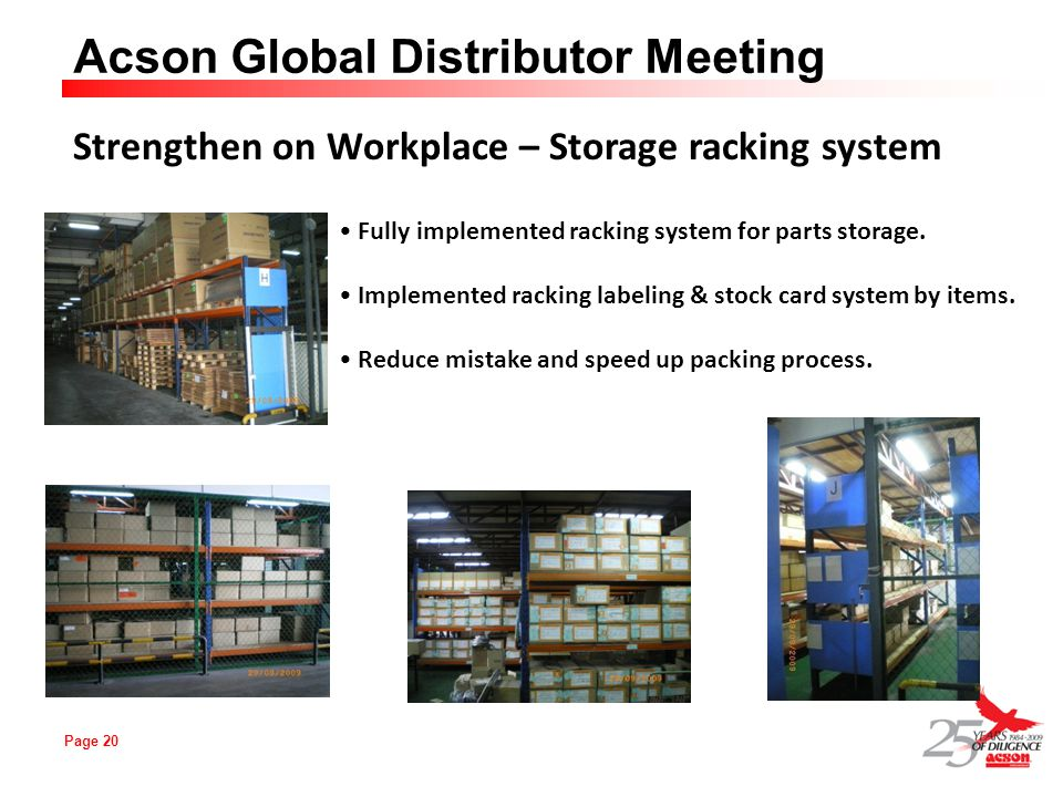Page 20 Acson Global Distributor Meeting Strengthen on Workplace – Storage racking system Fully implemented racking system for parts storage. Implemen