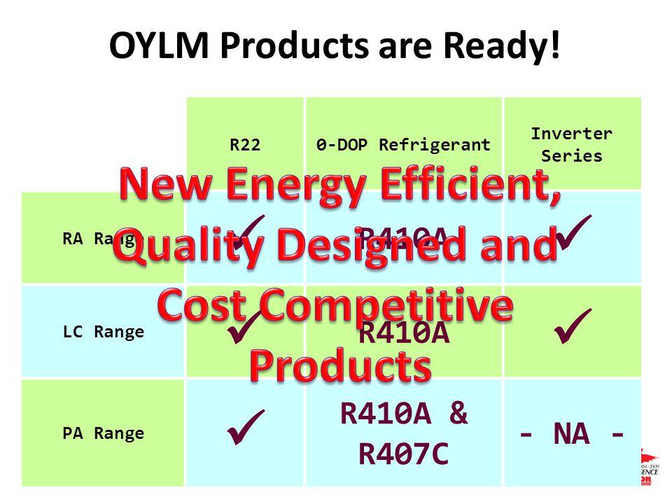 Page 63 Acson Global Distributor Meeting R220-DOP Refrigerant Inverter Series RA Range R410A LC Range R410A PA Range R410A & R407C - NA - OYLM Product