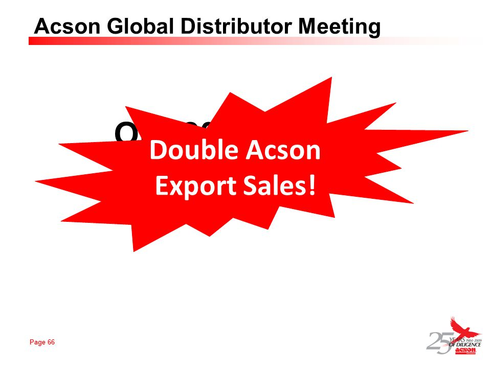Page 66 Acson Global Distributor Meeting Our 2010 Target Double Acson Export Sales!