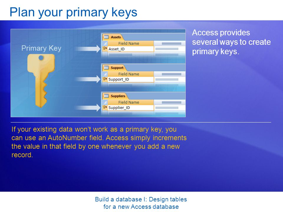 Build a database I: Design tables for a new Access database Plan your primary keys Access provides several ways to create primary keys.