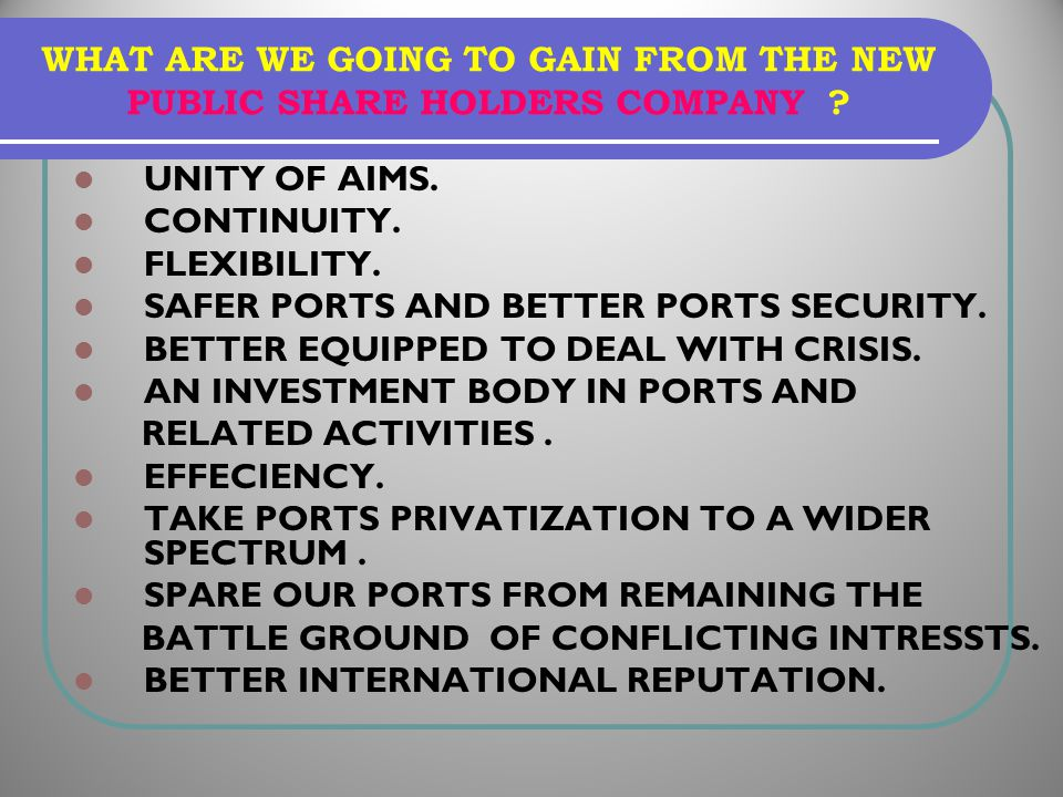 UNITY OF AIMS. CONTINUITY. FLEXIBILITY. SAFER PORTS AND BETTER PORTS SECURITY. BETTER EQUIPPED TO DEAL WITH CRISIS. AN INVESTMENT BODY IN PORTS AND RE