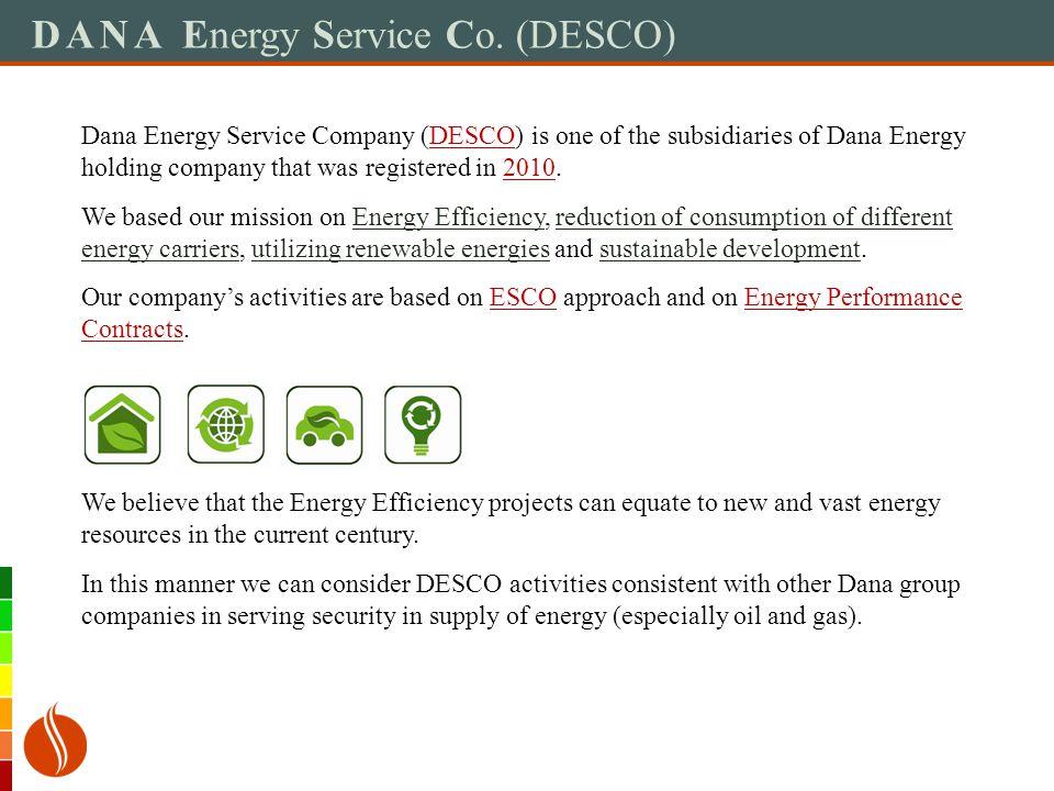 DANA Energy Service Co.(DESCO) The Most Important Activities of ESCo.