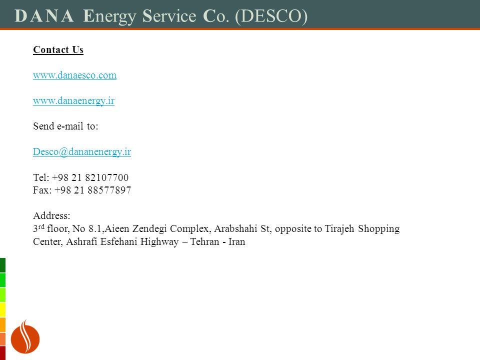 DANA Energy Service Co. (DESCO) Contact Us www.danaesco.com www.danaenergy.ir Send e-mail to: Desco@dananenergy.ir Tel: +98 21 82107700 Fax: +98 21 88