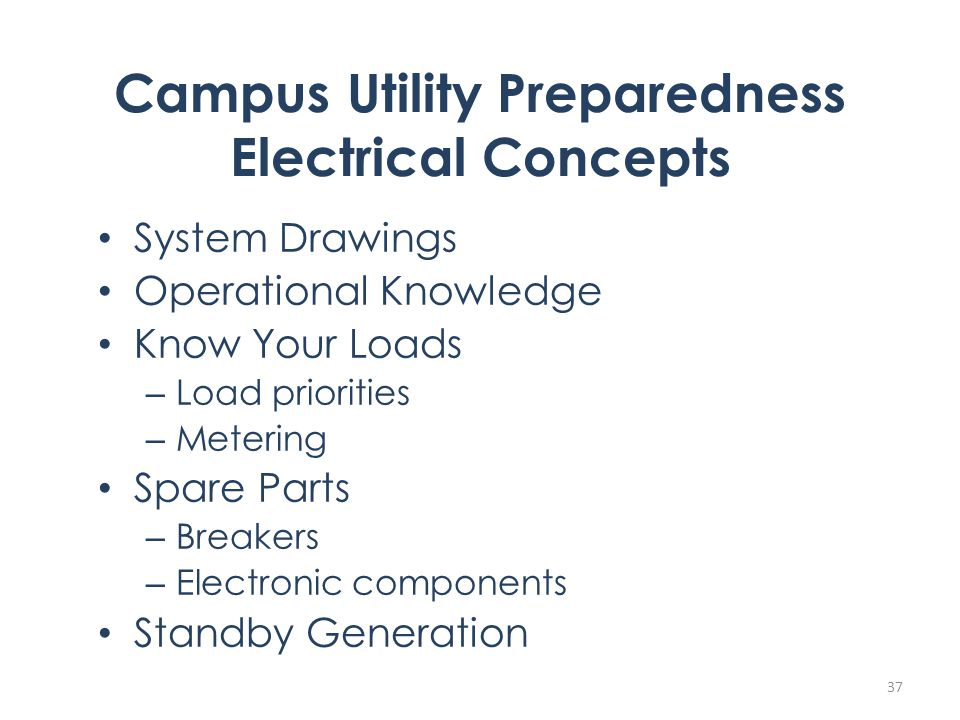 Campus Utility Preparedness Electrical Concepts System Drawings Operational Knowledge Know Your Loads – Load priorities – Metering Spare Parts – Breakers – Electronic components Standby Generation 37